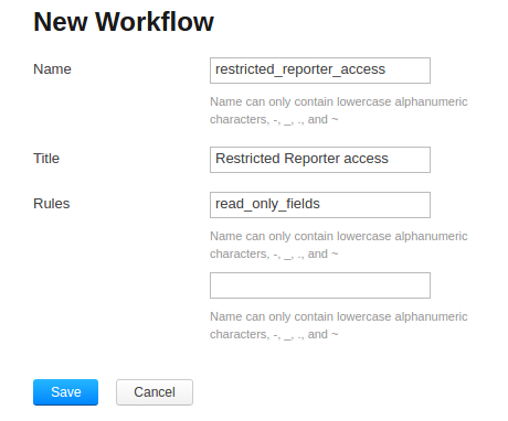 Creating new workflow form