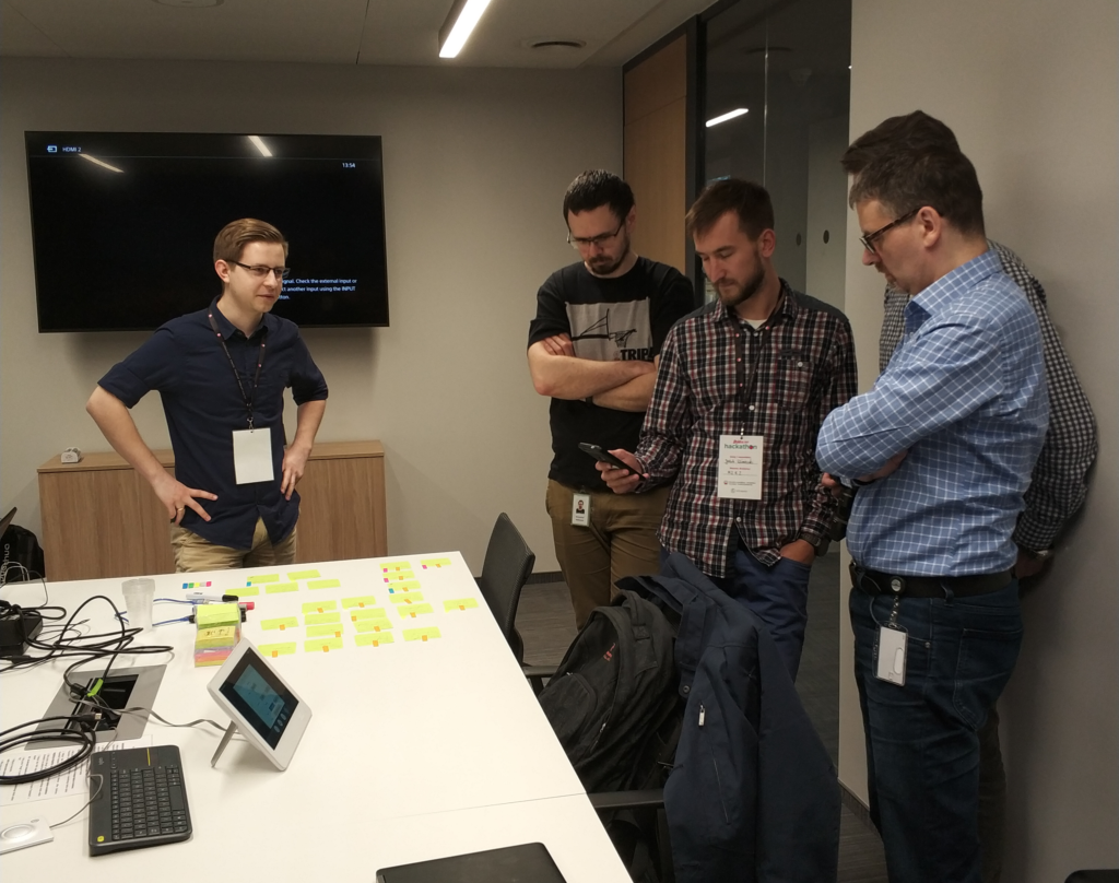 Our team shows the progress of development of the app during a hackathon